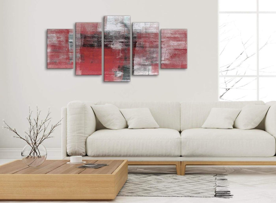 Set of 5 Piece Red Black White Painting Abstract Dining Room Canvas Pictures Decor - 5397 - 160cm XL Set Artwork