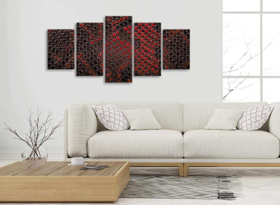 Set of 5 Panel Red Snakeskin Animal Print Abstract Living Room Canvas Wall Art Decorations - 5476 - 160cm XL Set Artwork