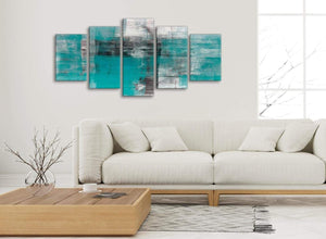 Set of 5 Piece Teal Black White Painting Abstract Bedroom Canvas Pictures Decor - 5399 - 160cm XL Set Artwork