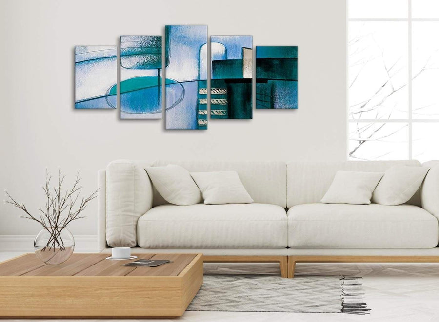 Set of 5 Piece Teal Cream Painting Abstract Dining Room Canvas Pictures Decor - 5417 - 160cm XL Set Artwork