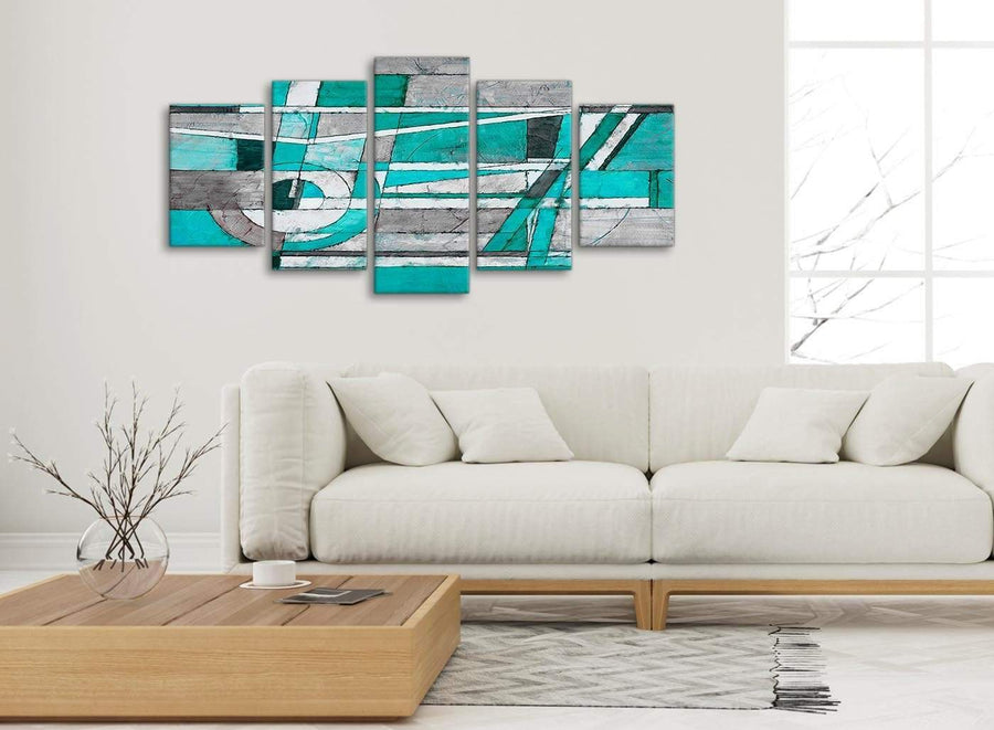 Set of 5 Piece Turquoise Grey Painting Abstract Living Room Canvas Wall Art Decorations - 5403 - 160cm XL Set Artwork