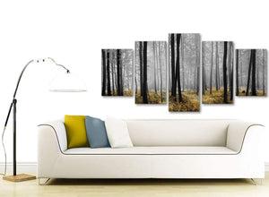Set of 5 Piece Yellow and Grey Forest Woodland Trees Dining Room Canvas Wall Art Decorations - 5384 - 160cm XL Set Artwork
