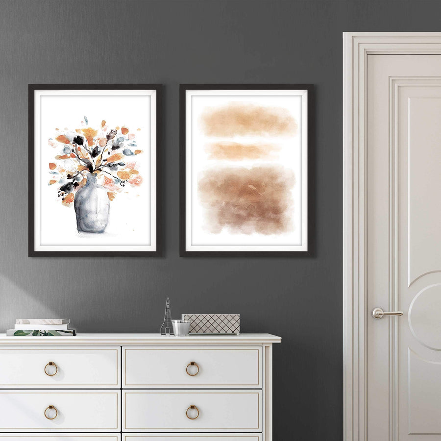 Set of Burnt Orange and Grey Floral Abstract Framed Wall Art - 2fb557 - 108.24cm XL Set Artwork