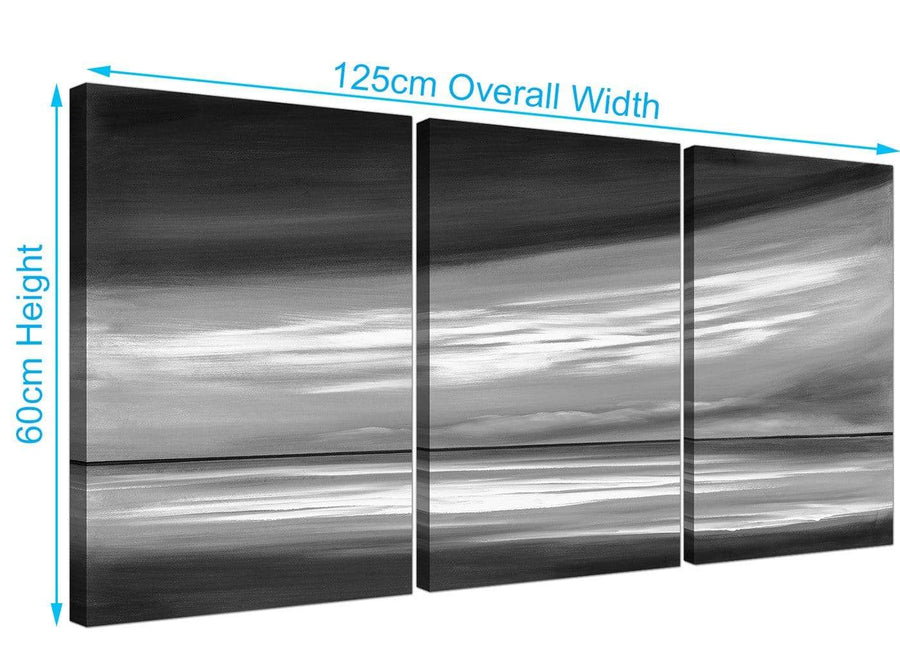 set of three abstact canvas art black and white 3272