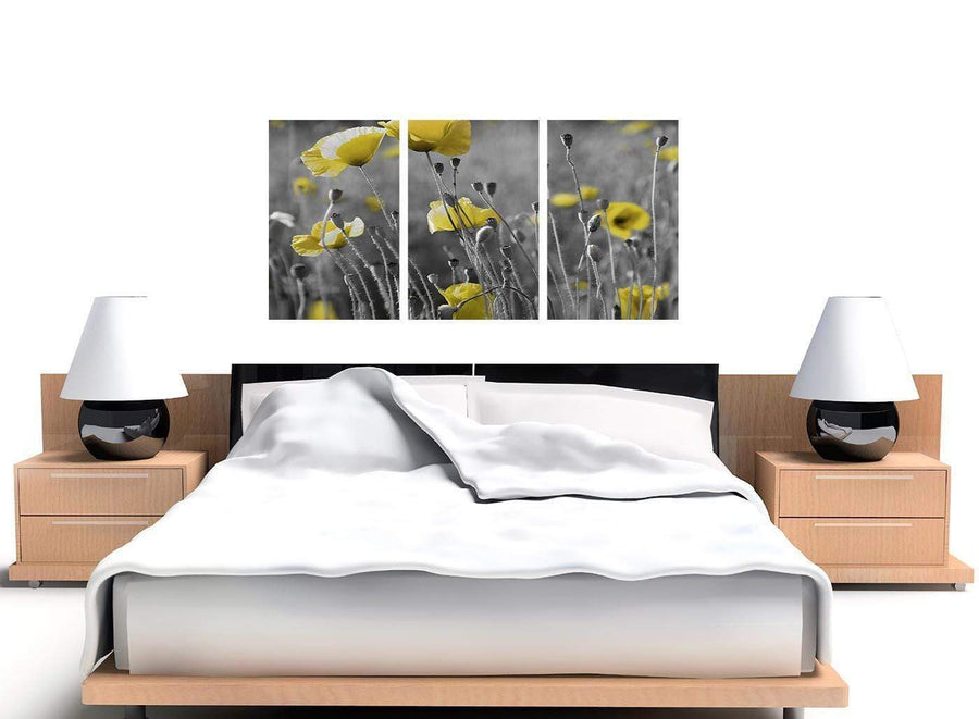 set of three black and white poppies canvas wall art 3258