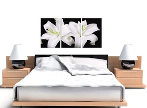 Black White Lily Flower Floral Canvas