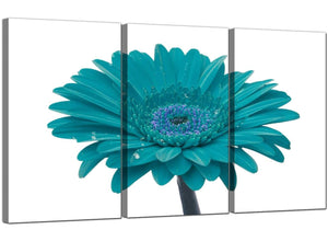 Set of 3 Blue Green Canvas Prints UK Daisy Flower 3114