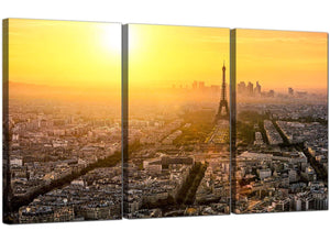Set of Three Cityscape Canvas Pictures Paris France 3153