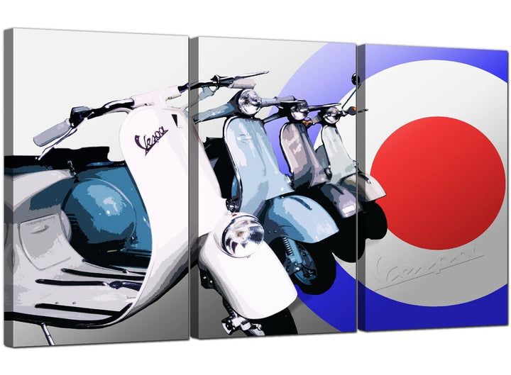 Three Panel Mods Canvas Art Vespa 3149