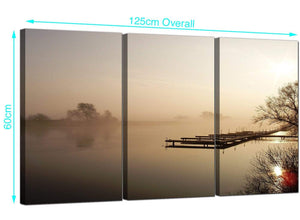 Set of 3 River Landscape Canvas Prints UK 125cm x 60cm 3117