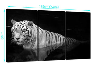 Set of 3 Tiger Canvas Prints 125cm x 60cm 3020
