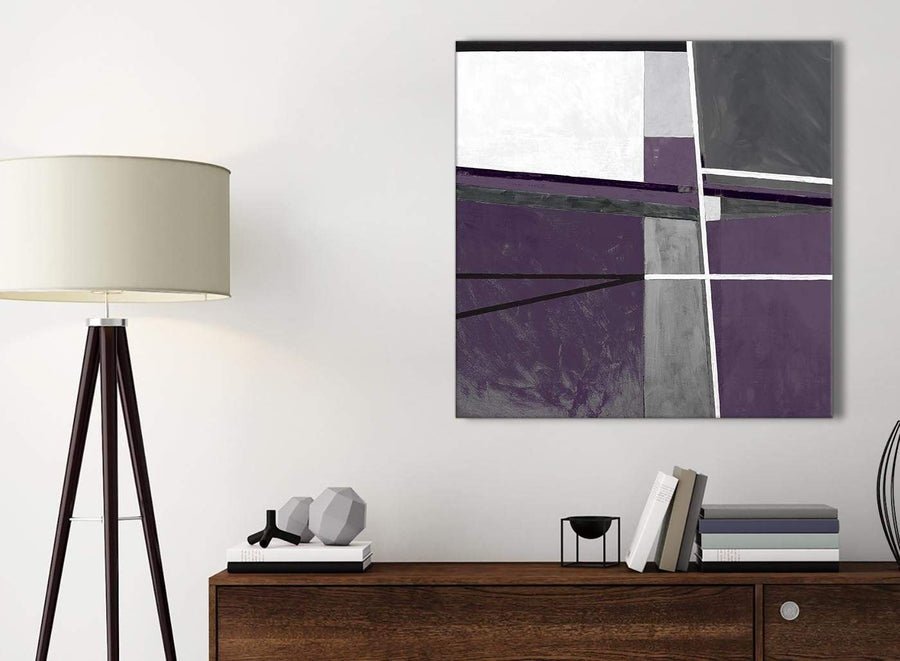 Small Aubergine Grey Painting Kitchen Canvas Wall Art Accessories - Abstract 1s392s - 49cm Square Print