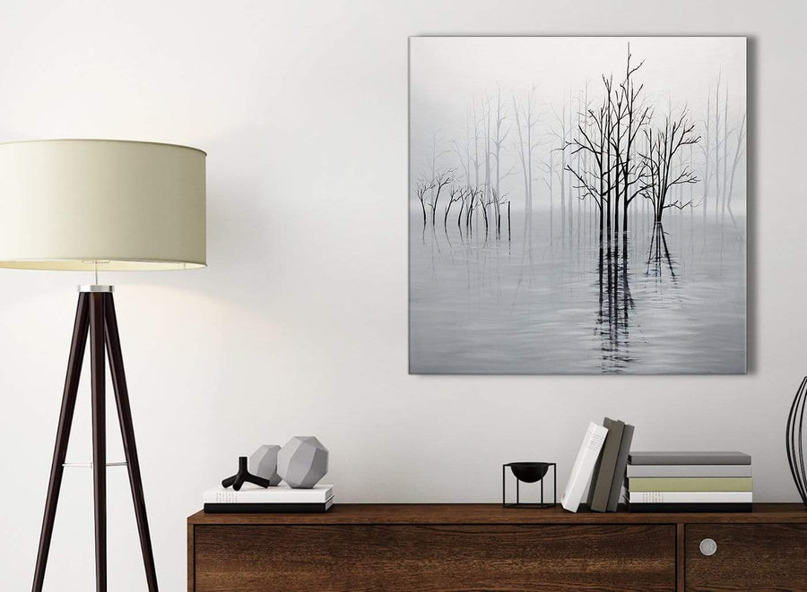 Small Black White Grey Tree Landscape Painting Kitchen Canvas Pictures Accessories - 1s416s - 49cm Square Print