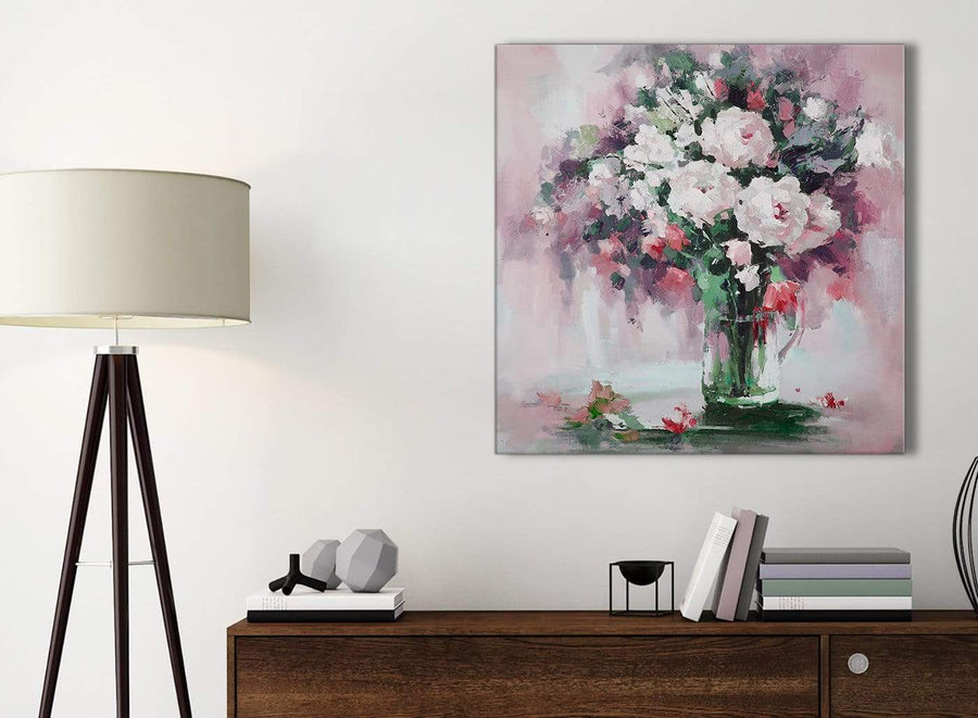 Small Blush Pink Flowers Painting Bathroom Canvas Pictures Accessories - Abstract 1s441s - 49cm Square Print