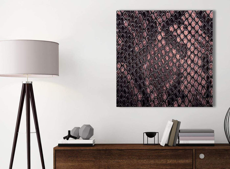 Small Blush Pink Snakeskin Animal Print Kitchen Canvas Wall Art Accessories - Abstract 1s473s - 49cm Square Print