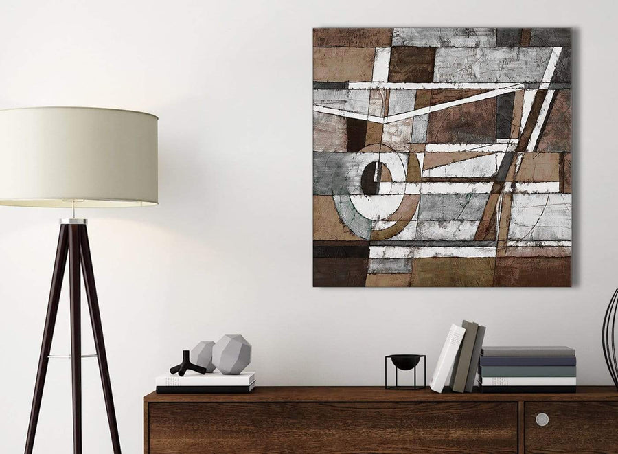 Small Brown Beige White Painting Bathroom Canvas Pictures Accessories - Abstract 1s407s - 49cm Square Print