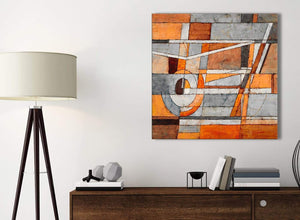 Small Burnt Orange Grey Painting Kitchen Canvas Pictures Accessories - Abstract 1s405s - 49cm Square Print