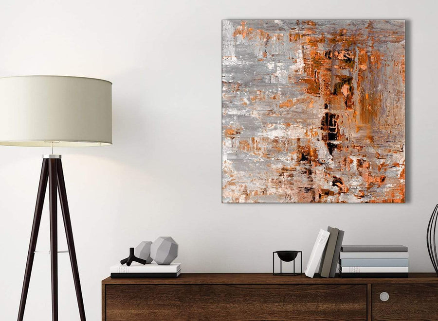 Small Burnt Orange Grey Painting Kitchen Canvas Pictures Accessories - Abstract 1s415s - 49cm Square Print