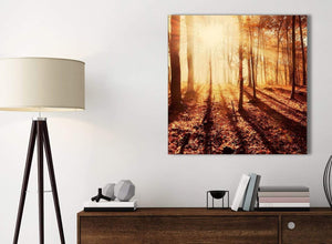 Small Canvas Prints Autumn Leaves Forest Scenic Landscapes - Trees - 1s386s Orange - 49cm Square Wall Art