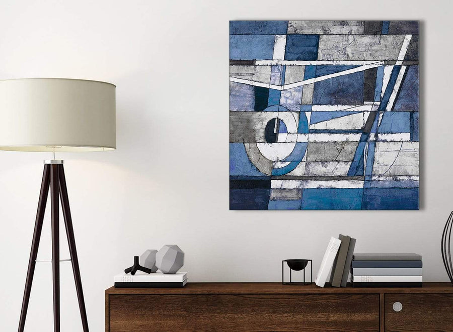 Small Indigo Blue White Painting Bathroom Canvas Pictures Accessories - Abstract 1s404s - 49cm Square Print