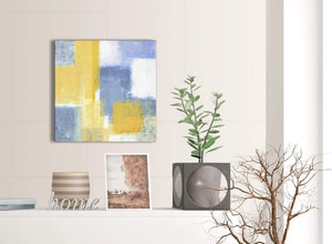 Small Mustard Yellow Blue Kitchen Canvas Pictures Accessories - Abstract 1s371s - 49cm Square Print