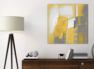 Small Mustard Yellow Grey Painting Bathroom Canvas Pictures Accessories - Abstract 1s419s - 49cm Square Print