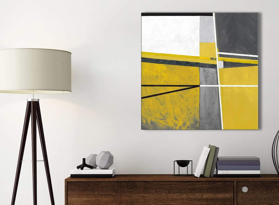 Small Mustard Yellow Grey Painting Bathroom Canvas Wall Art Accessories - Abstract 1s388s - 49cm Square Print
