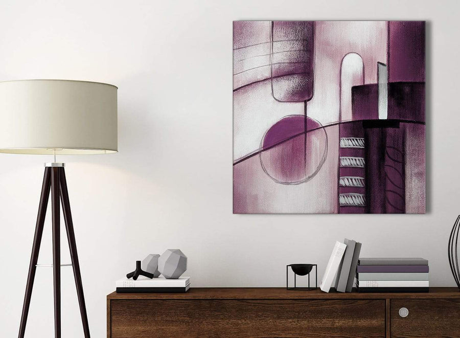 Small Plum Grey Painting Kitchen Canvas Pictures Accessories - Abstract 1s420s - 49cm Square Print
