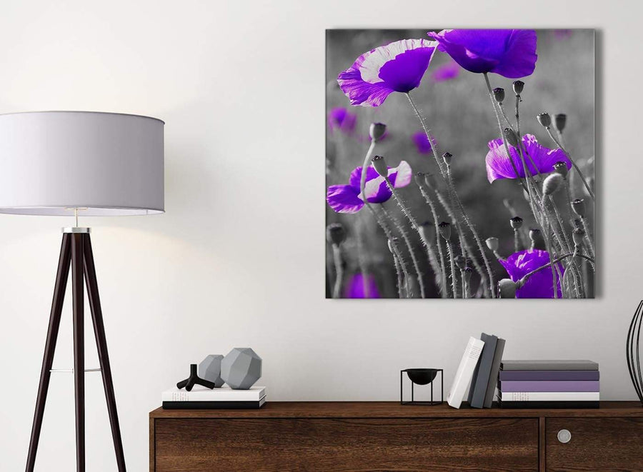 Small Purple Poppy Grey Black White Flower Floral Bathroom Canvas Wall Art Accessories - Abstract 1s136s - 49cm Square Print