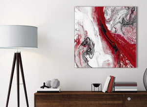 Small Red and Grey Swirl Bathroom Canvas Wall Art Accessories - Abstract 1s467s - 49cm Square Print