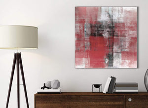 Small Red Black White Painting Kitchen Canvas Pictures Accessories - Abstract 1s397s - 49cm Square Print