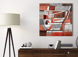 Small Red Grey Painting Kitchen Canvas Pictures Accessories - Abstract 1s401s - 49cm Square Print