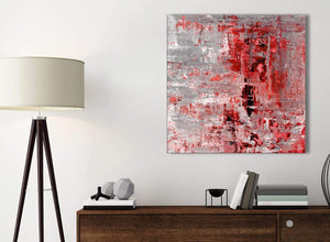 Small Red Grey Painting Bathroom Canvas Wall Art Accessories - Abstract 1s414s - 49cm Square Print