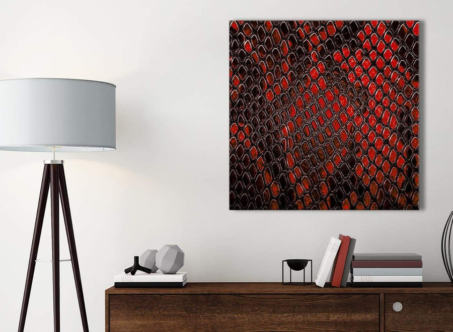 Small Red Snakeskin Animal Print Bathroom Canvas Wall Art Accessories - Abstract 1s476s - 49cm Square Print