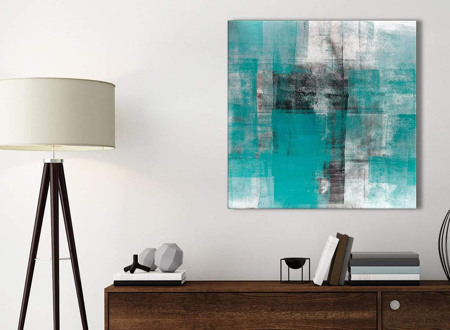 Small Teal Black White Painting Bathroom Canvas Wall Art Accessories - Abstract 1s399s - 49cm Square Print