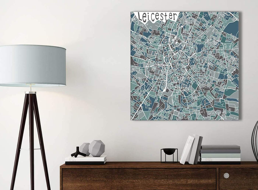 Small Teal Blue Street Map of Leicester - Office Canvas Wall Art Accessories - 1s453s - 49cm Square Print