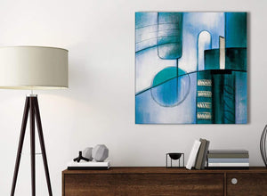 Small Teal Cream Painting Bathroom Canvas Wall Art Accessories - Abstract 1s417s - 49cm Square Print