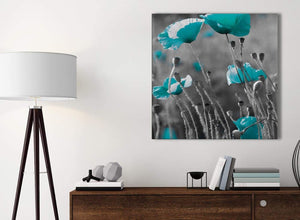 Small Teal Poppy Grey Poppies Flower Floral Kitchen Canvas Pictures Accessories - Abstract 1s139s - 49cm Square Print