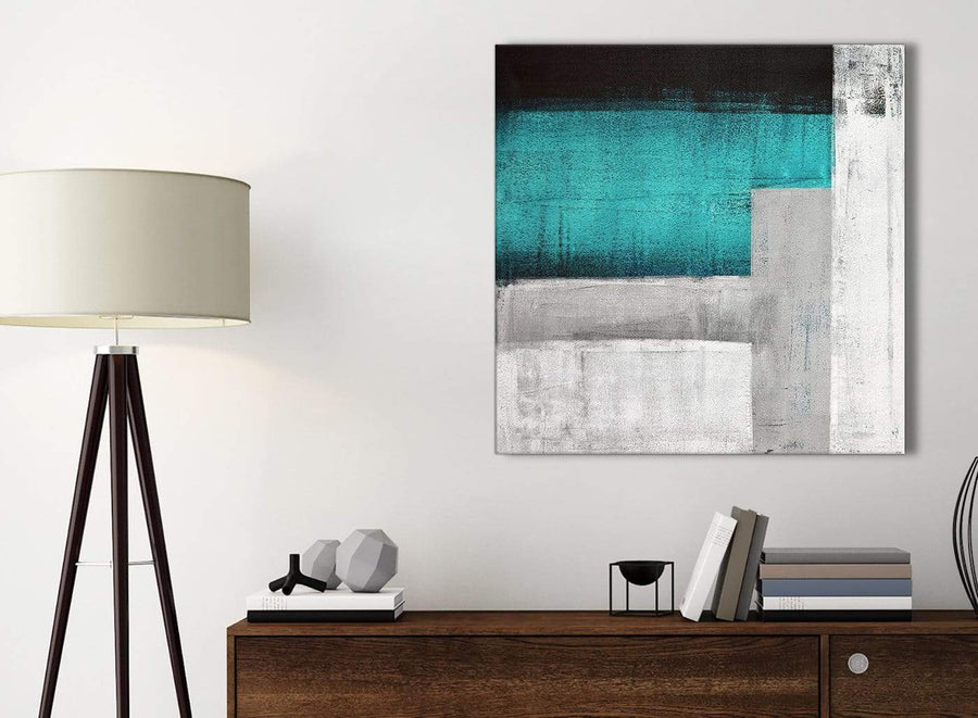 Small Teal Turquoise Grey Painting Kitchen Canvas Pictures Accessories - Abstract 1s429s - 49cm Square Print