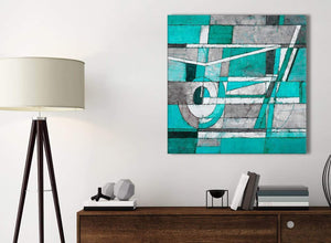Small Turquoise Grey Painting Bathroom Canvas Wall Art Accessories - Abstract 1s403s - 49cm Square Print