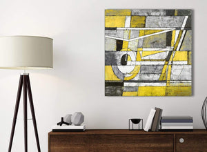 Small Yellow Grey Painting Bathroom Canvas Pictures Accessories - Abstract 1s400s - 49cm Square Print