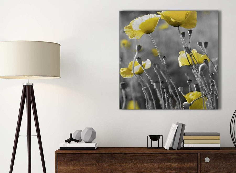 Small Yellow Grey Poppy Flower - Poppies Floral Canvas Bathroom Canvas Wall Art Accessories - Abstract 1s258s - 49cm Square Print