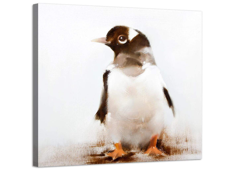 Large Nursery Childrens Kids Bedroom - Penguin Modern Canvas Art - 48cm - 1s248m