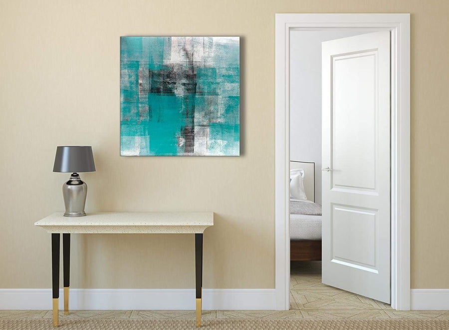 Teal Black White Painting Abstract Dining Room Canvas Pictures Decorations 1s399l - 79cm Square Print
