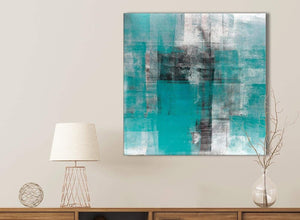 Teal Black White Painting Bathroom Canvas Wall Art Accessories - Abstract 1s399s - 49cm Square Print