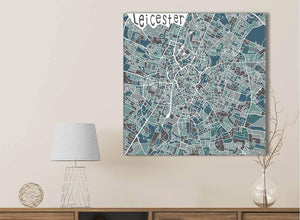 Teal Blue Street Map of Leicester - Office Canvas Wall Art Accessories - 1s453s - 49cm Square Print