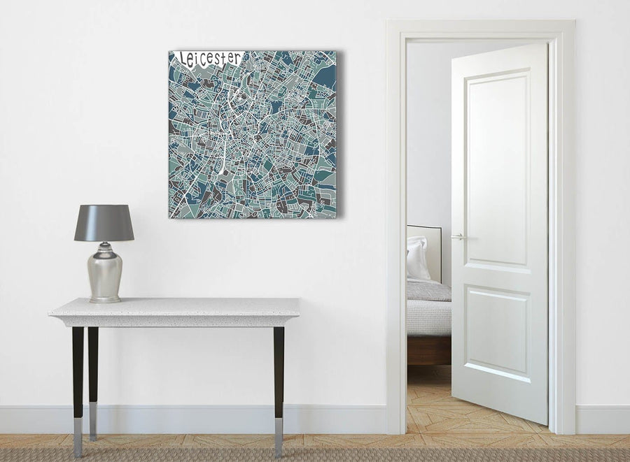 Teal Blue Street Map of Leicester - Hallway Canvas Wall Art Decor 1s453l - 79cm Square Print