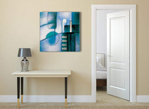Teal Cream Painting Abstract Bedroom Canvas Wall Art Decor 1s417l - 79cm Square Print