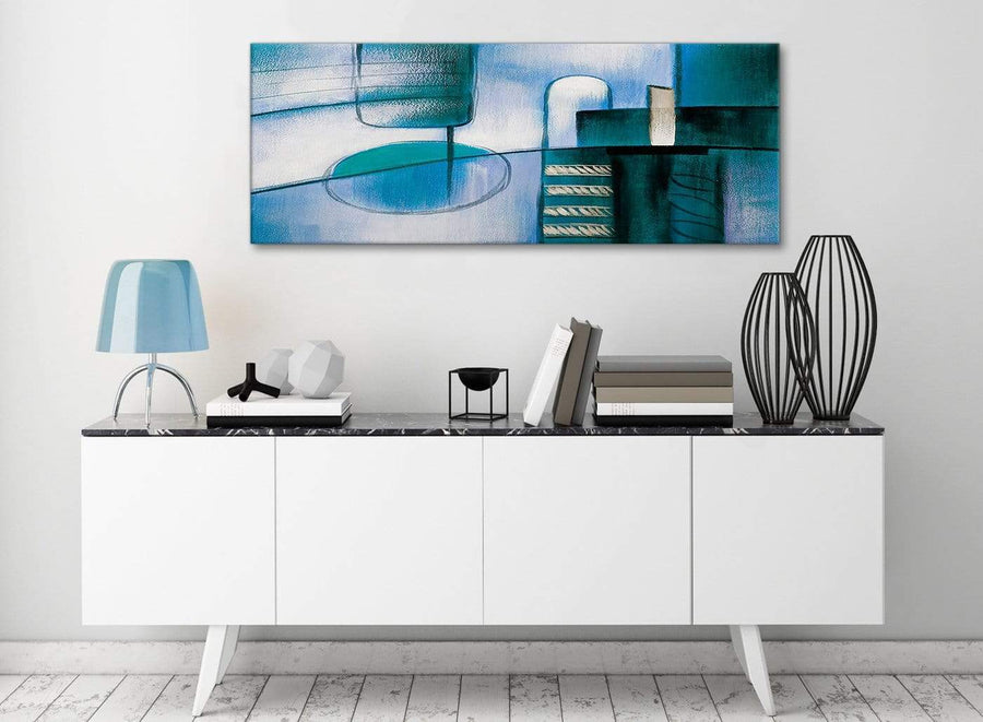 Teal Cream Painting Living Room Canvas Wall Art Accessories - Abstract 1417 - 120cm Print
