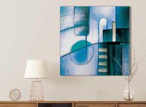 Teal Cream Painting Bathroom Canvas Wall Art Accessories - Abstract 1s417s - 49cm Square Print